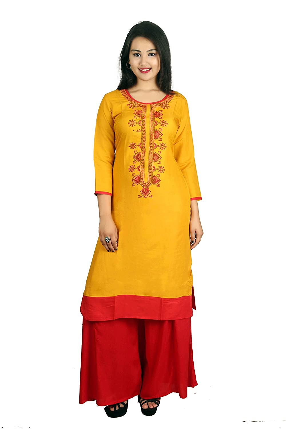 Yellow Embroidered 3/4 Sleeve Cotton Women's Kurta and Palazzo Set Indian Handicrfats Export D12-Mustured-Red-S