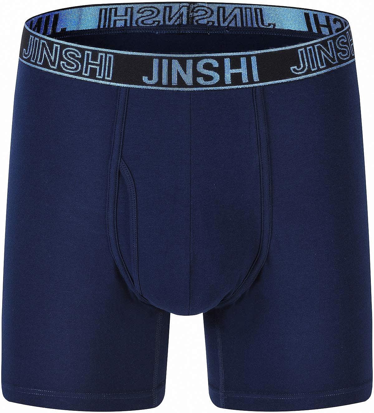 JINSHI Mens Boxer Briefs Long Leg Classic Underwear Soft Comfy Boxers 3Pack