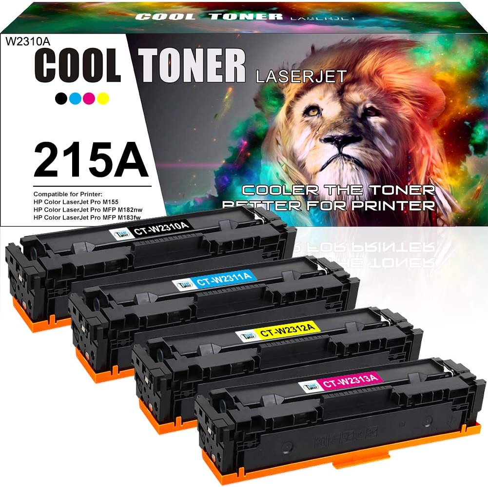 Cool Toner Compatible Toner Cartridge Replacement for HP 215A W2310A W2311A W2312A W2313A HP Color Laserjet Pro MFP M183fw MFP M182nw M183 M155 M182 Printer Ink (Black Cyan Magenta Yellow, 4-Pack)