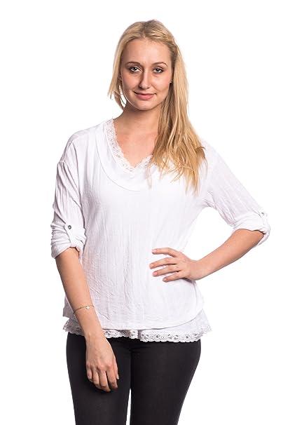 Abbino 8366-5 Camisa Blusa Top para Mujer - Hecho en ITALIA - 6 Colores