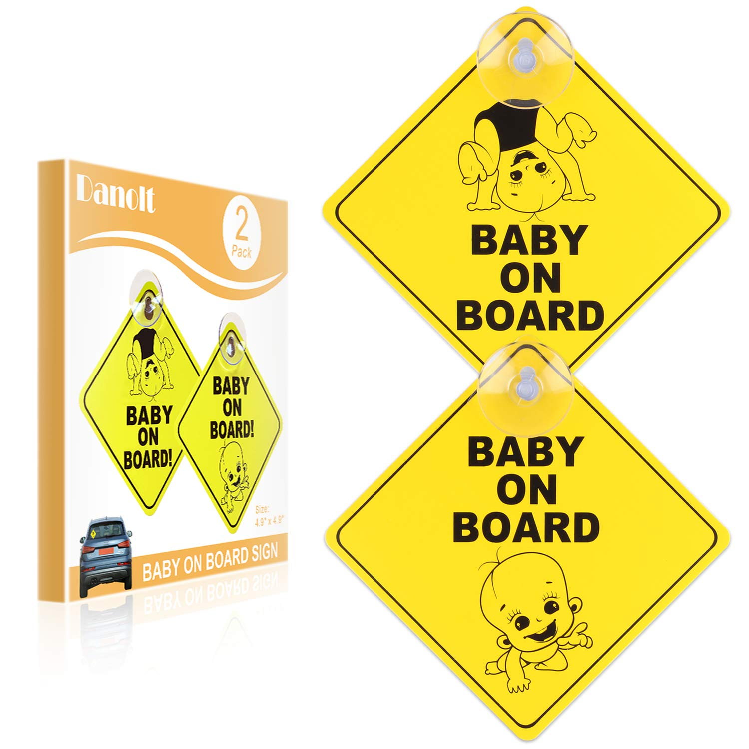 Baby on Board Sign for Car, Danolt 2pcs New Upgrade Thicken Kids Safety Warning Sucker Sticker for Driver, No Fade, Reflective, Removable