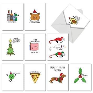 Christmas Puns.10 Assorted Fun Christmas Puns Christmas Cards With Envelopes 4 X 5 12 Inch Boxed Season S Greetings Cards Funny Illustrations Featuring Christmas