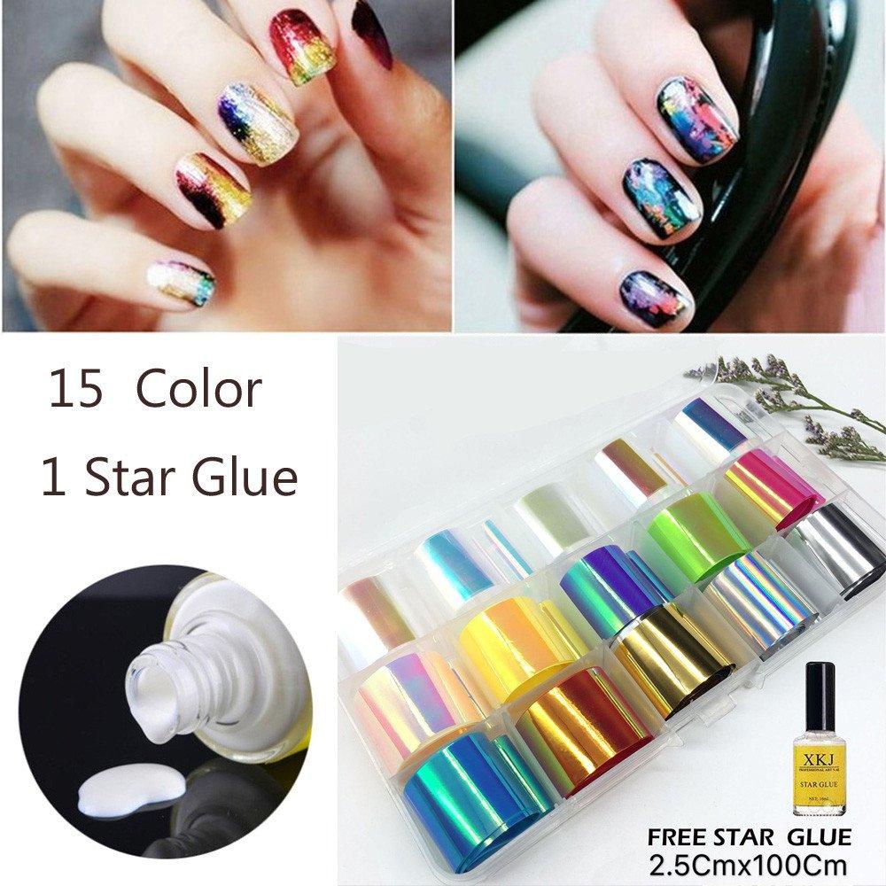 HKFV - Juego de maquillaje decorativo para unas uñas encantadoras, decoración de uñas y pegamento especial Star Glue, estilo moderno y divertido con ...