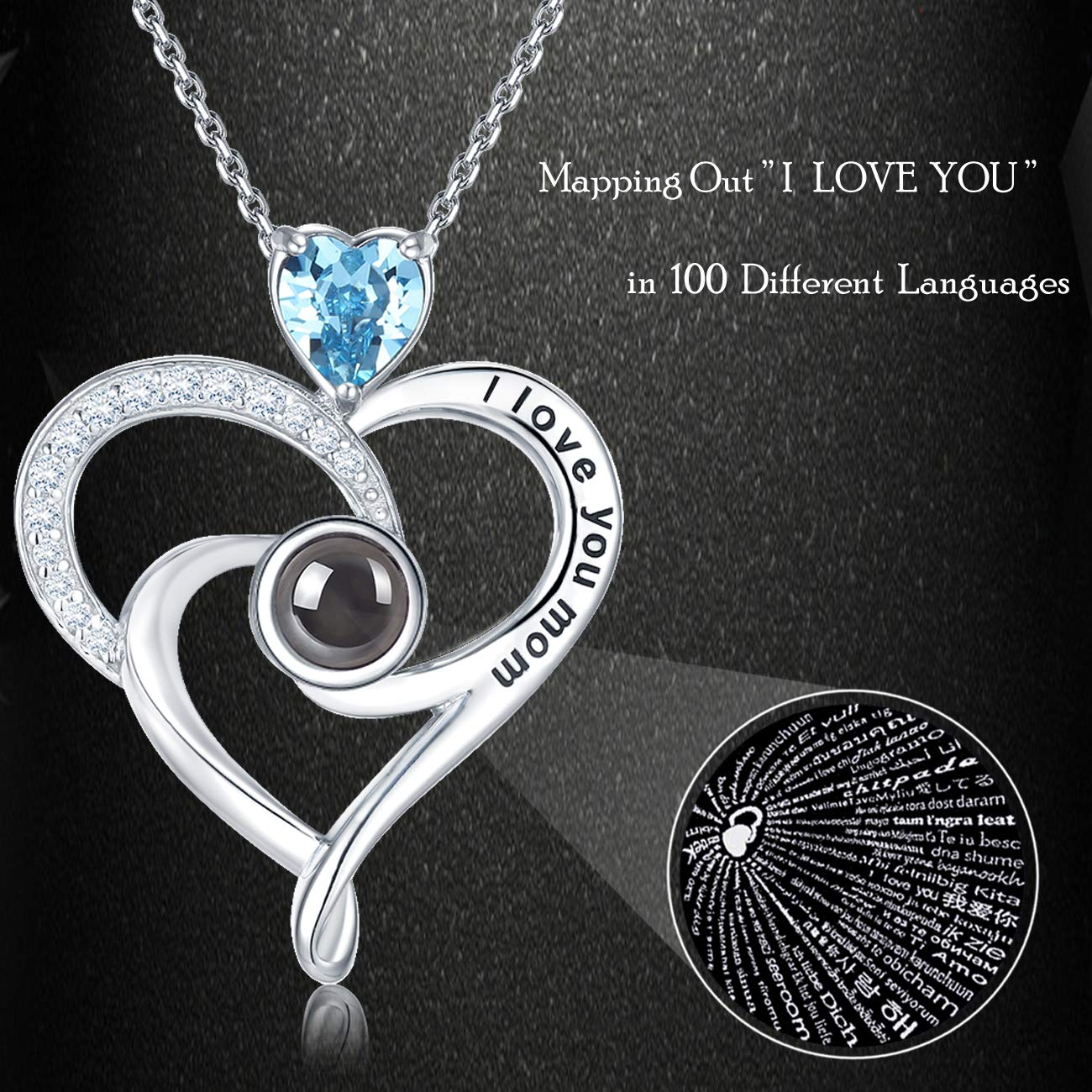 20 Chain Elda/&Co Necklace 100 Languages I Love You Mom Sterling Silver Pendant Jewelry Birthday Gifts for Mom Anniversary White Simulated Diamond Pendant