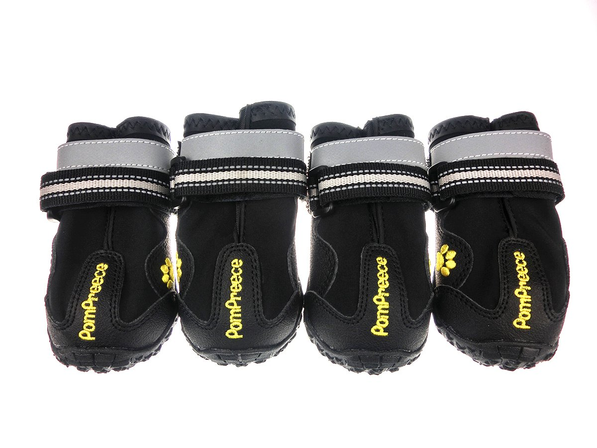 Lymenden Dog Boots,Waterproof Dog Shoes,Paw Protectors with Reflective and Adjustable Straps and Wear-Resisting Soles, 4pcs (2, Black)