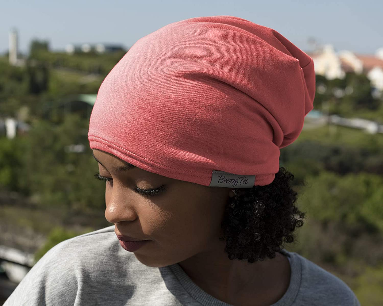 Breezy Tee Satin Lined Beanie Coral Jersey Cap