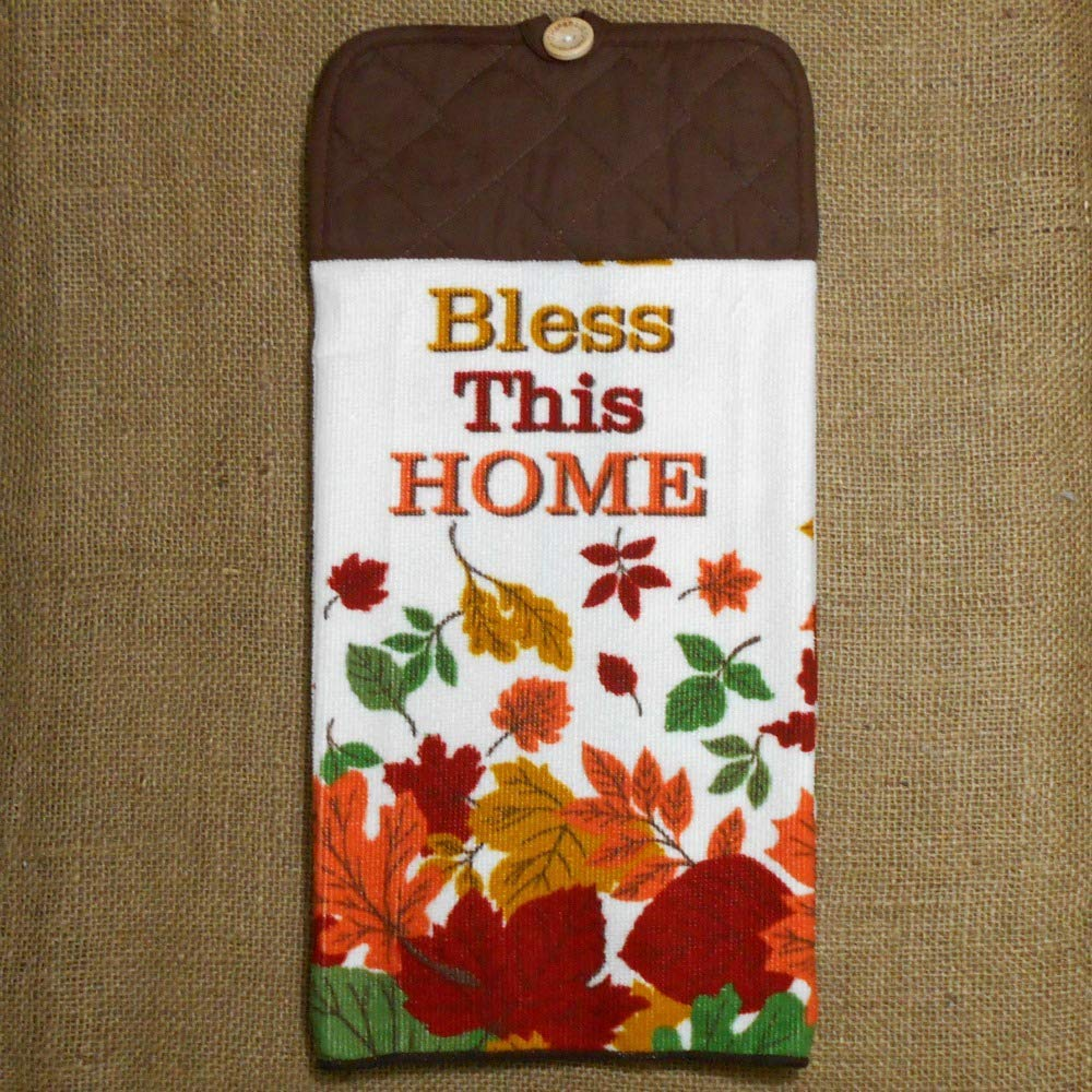 Fall Themed Bless This Home Microfiber Dish Towel, Autumn Kitchen Decor