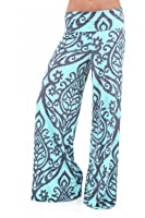 Womens MULTICOLORED TWO TONE DAMASK PRINTED PALAZZO PANTS