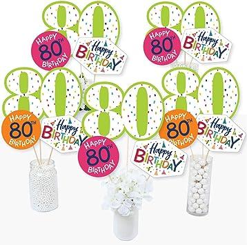 Juego de 15 palitos de centro de mesa para fiesta de 80 cumpleaños con texto en inglés