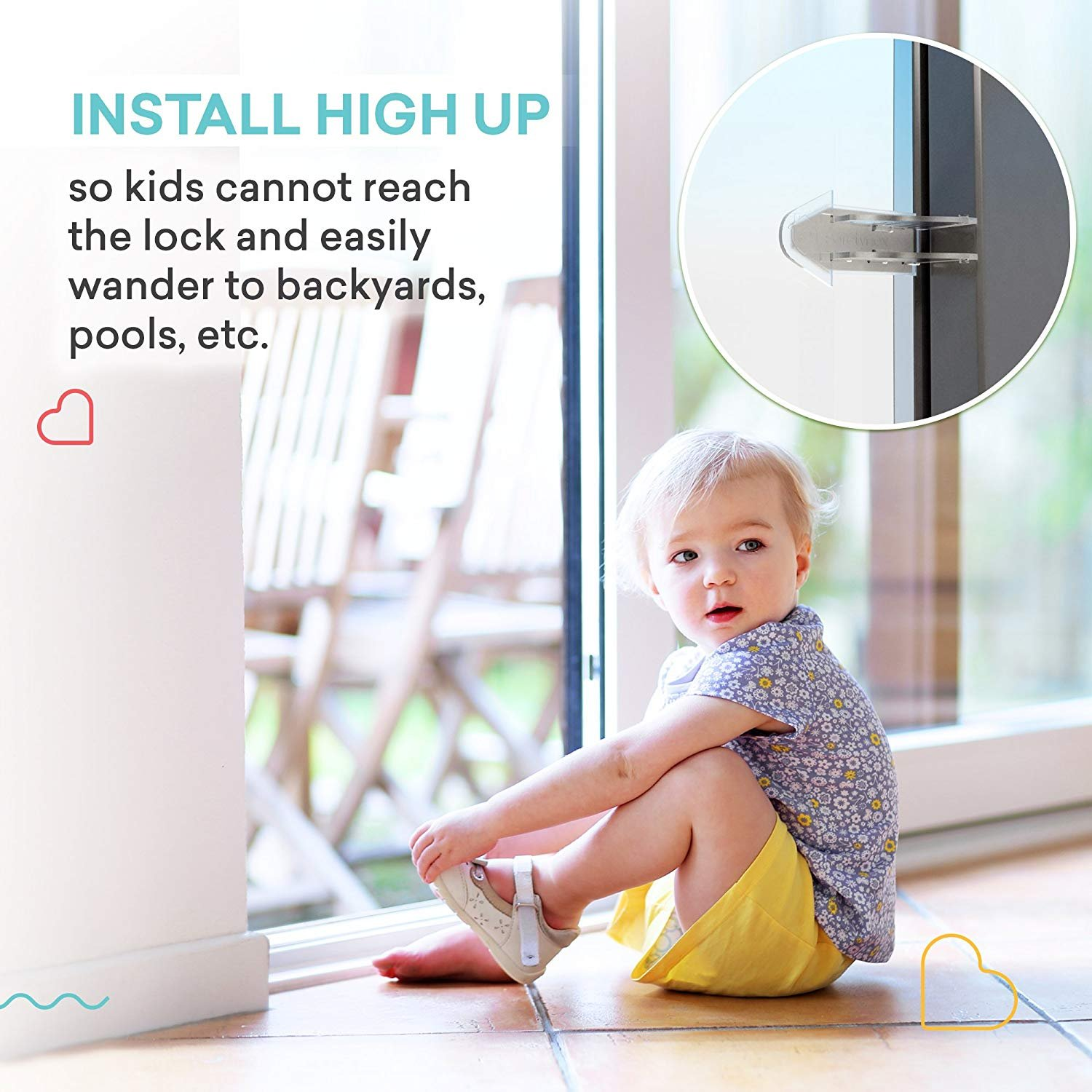 Cupid Pack of 4 Sliding Window Locks Stop and 4 Sliding Door Lock – Sliding Security Door Stop & Child Window Locks to Child Proof Your Home - Aluminum Alloy Door & Windows Safety Lock – 8pcs by CUPID (Image #7)