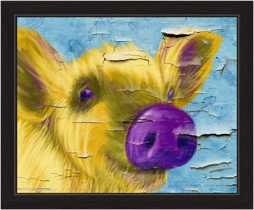 Distressed Chipped Paint Wall Purple Nose Pig Pop Art Framed Canvas Art Print Wall Décor 8x10 Posters Prints