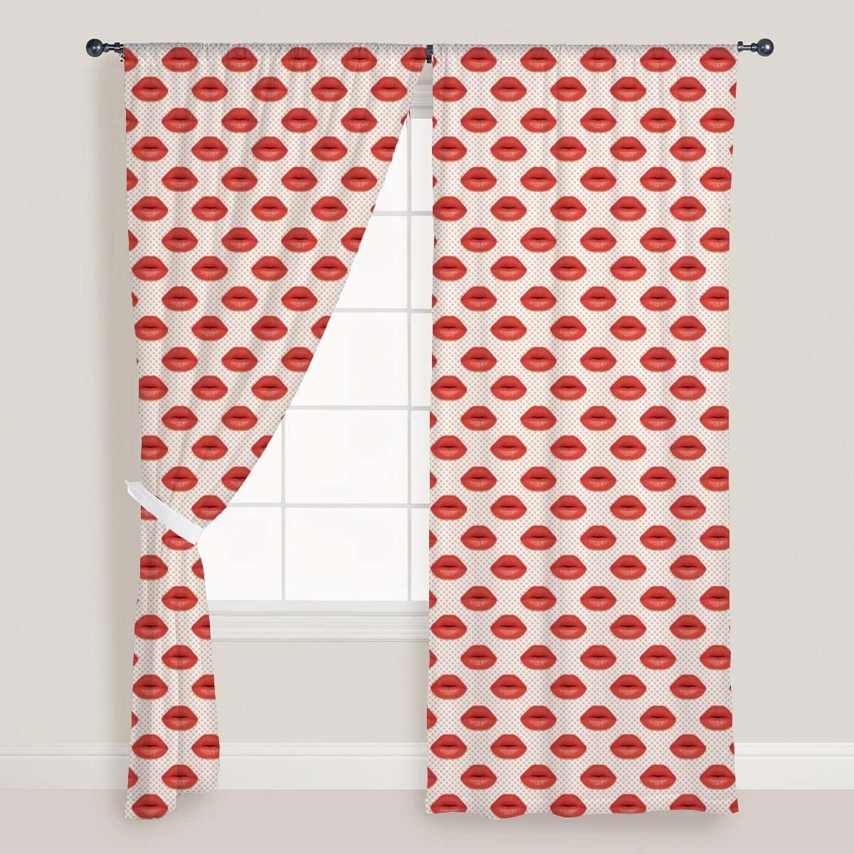 AZ Red Lips Door & Window Curtain Satin 4feet x 8feet; SET OF 3 PCS