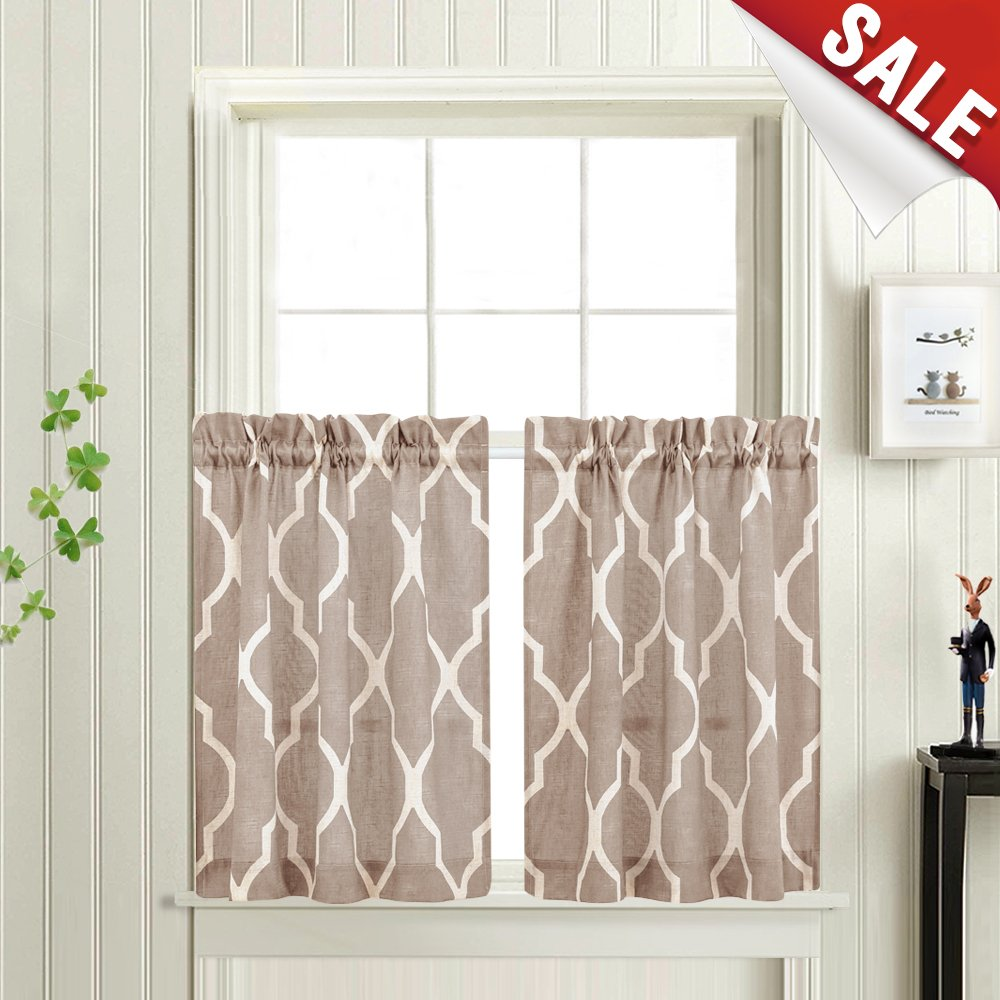 Moroccan Tile Printed Tier Curtains for Kitchen Lattice Cafe Half Window Panels 36 inch Length Quatrefoil Flax Linen Blend Textured Curtain Set (1 Pair, Taupe)