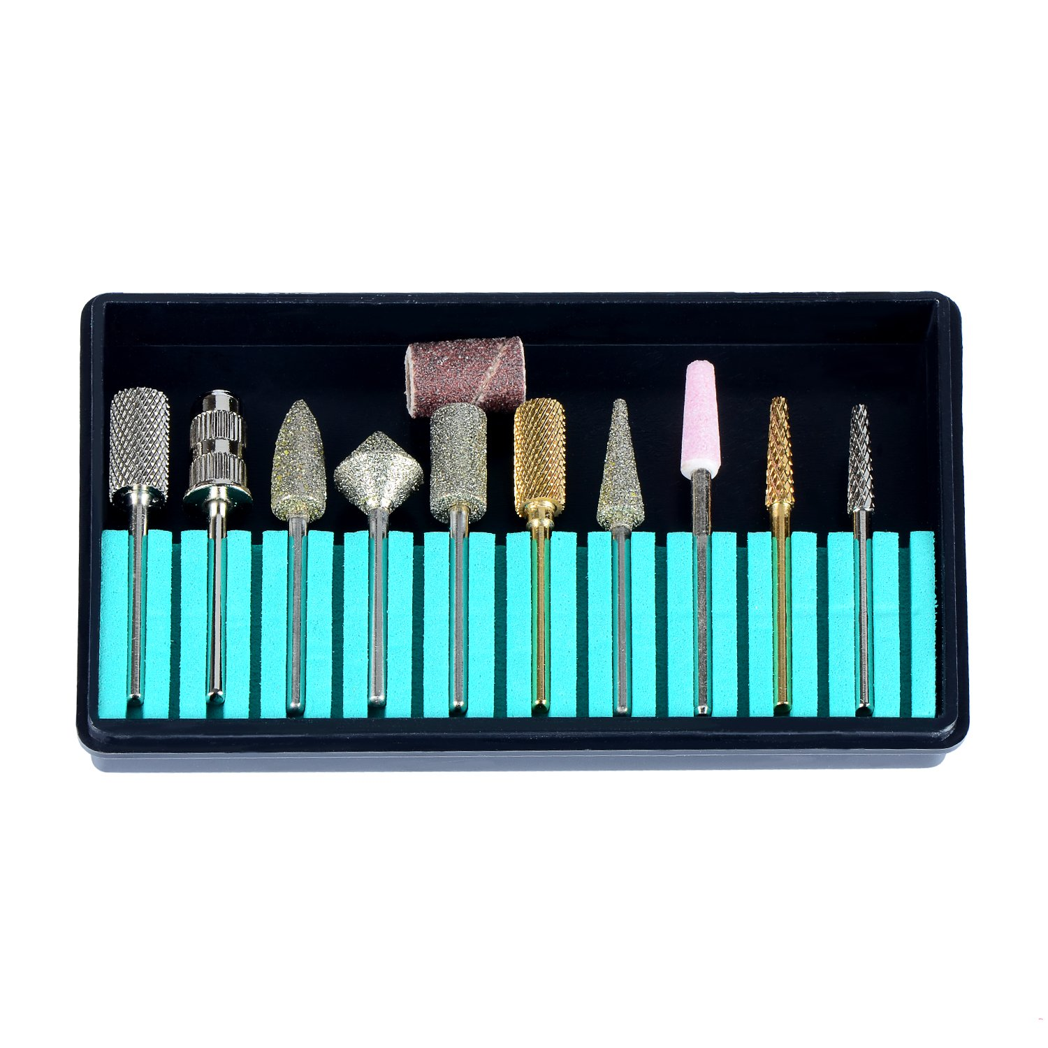 SpeTool Nail Art Drill Bits Tools Kit 3/32'' For Manicure Pedicure 10Pcs/Pack Assorted