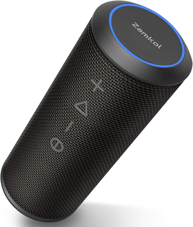 Altavoz Bluetooth, Zamkol Altavoz Inalámbrico Portátil, 24W 360° Sonido Estéreo con Doble Driver, TWS Funcion con Micrófono y Manos Libres, IPX 6 Impermeable para Playa, Ducha, Viajes