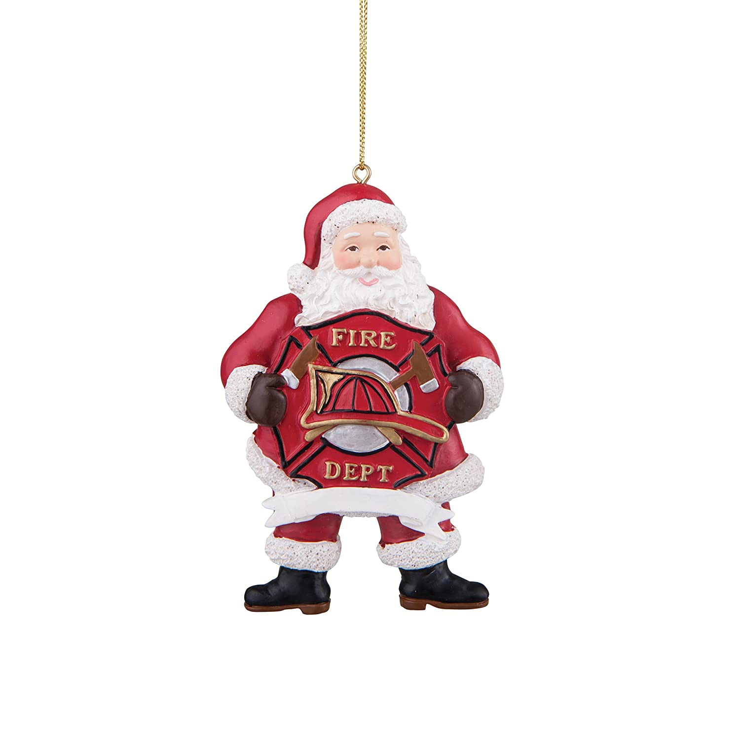 Christmas Tree Ornament Fire Fighter Sheild Santa