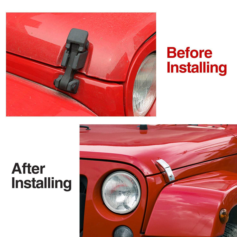 JeCar Steel Hood Latches Lock for Jeep Wrangler 2007-2018 JK JKU JL Unlimited Rubicon Sahara X Off Road Sport Exterior Accessories Black 1 Pair