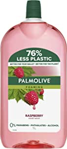 Palmolive Foaming Hand Wash Soap Raspberry Refill and Save 0 percentage Parabens 0 percentage Phthalates Removes Germs Dermatologically Tested Recyclable Packaging 1L