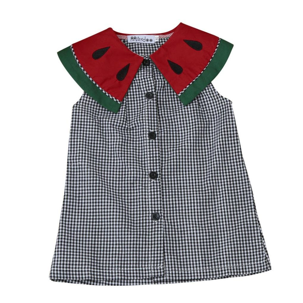 Lavany Toddler Baby Girls Watermelon Collar Plaid Dress Clothes Outfits