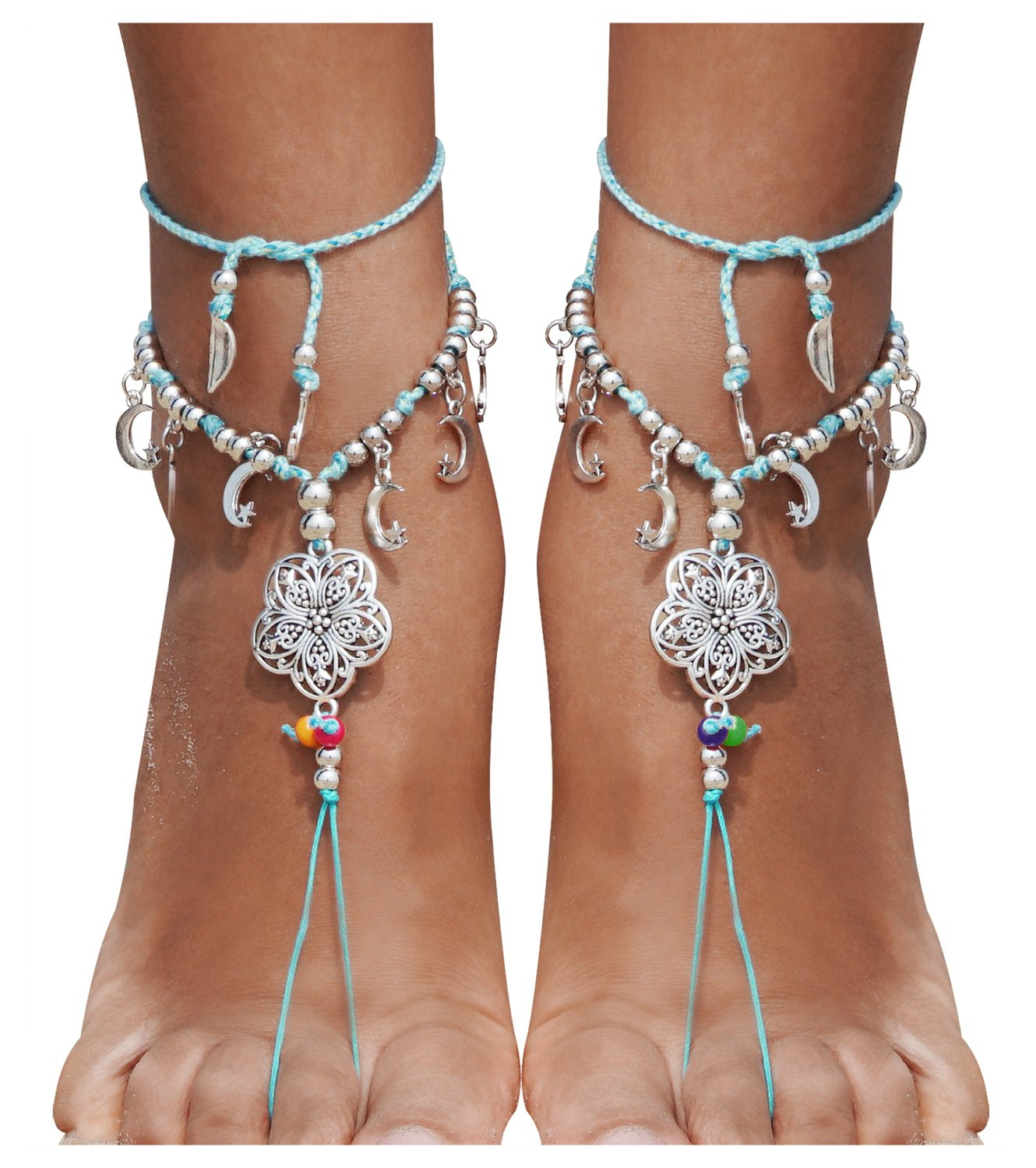 Bienvenu Bohemia Style Wedding Barefoot Sandals Beach Anklet Chain Foot Jewelry, Silver_Flower