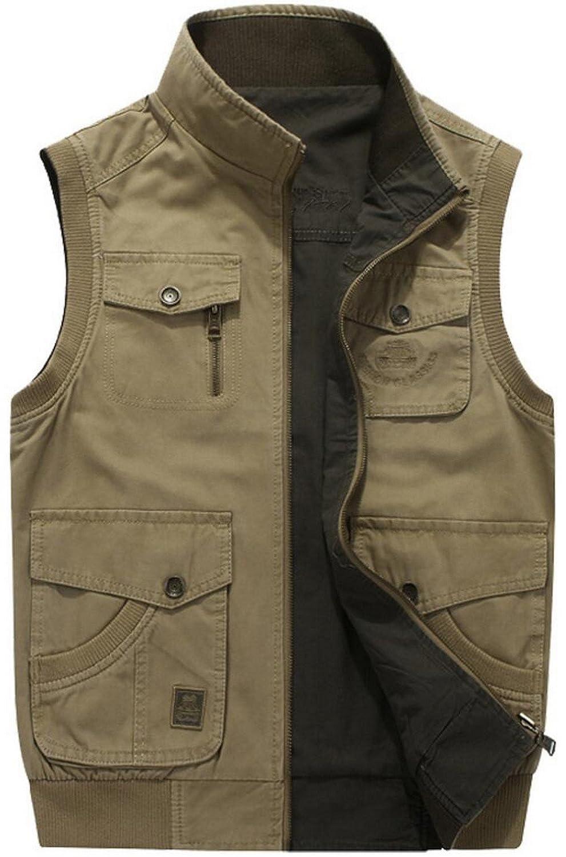 JIINN Mens Classic Cotton Military Vest Gilets Double-Sided Outdoor Multi Pocket Waistcoat Sleeveless Jacket