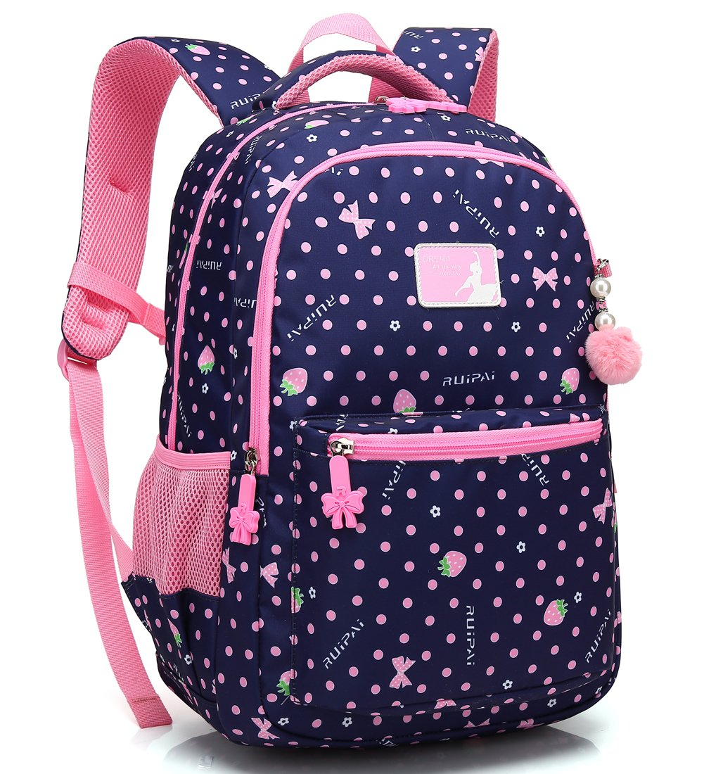 Kid Girl School Backpack Water Resistant Elementary Dot Bookbag with Chest Strap (RoyalBlue)
