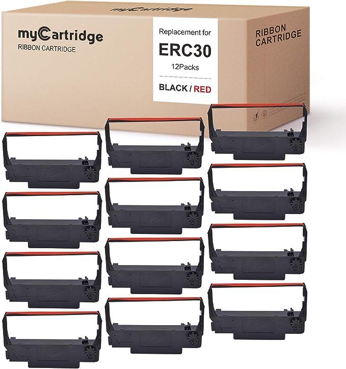 BTP-M300 BTP-M280A BTP-M280D POS BTP-M280B ERC30 Compatible with Epson Printer SNBC BTP-M280 ERC-30 34 38 Ribbon Ink Cartridge Receipt Printer Black and Red 12 Pack