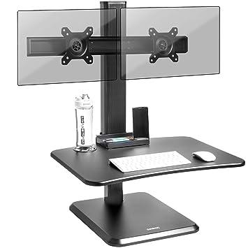 Duronic DM05D15 Estación de Trabajo para Monitor, Mesa Ordenador para Trabajar de Pie y Sentado con Altura Regulable y Brazo 2 Pantallas