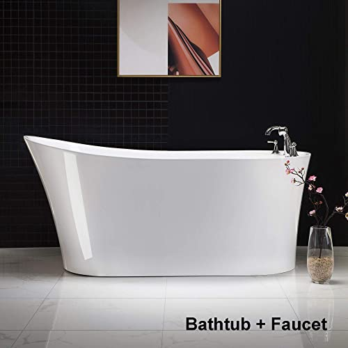 Woodbridge B-0083/BTA-0083 B/N Acrylic Freestanding Bathtub Contemporary Soaking Tub Overflow and Drain BTA0083-B,with Brushed Nickel Faucet F0022BN