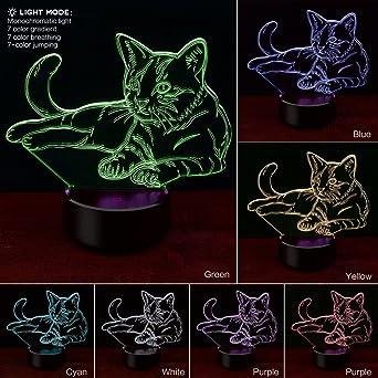 Katze 3D Illusion Lampe,COLORFUL 3D Optical Illusion Lampe LED  Nachtlichter, 7 Farbwech Einzigartige