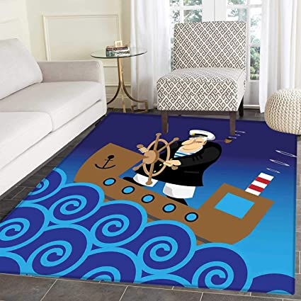 Amazon Com Nautical Rugs For Bedroom Captain On Ship With Wavy
