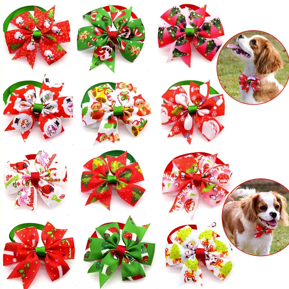 100pcs Christmas Pet Supplies Pet Dog Cat New Year Xmas Bowties Neckties Santa Tree Pet Bow Tie Dog Holiday Grooming Accessores