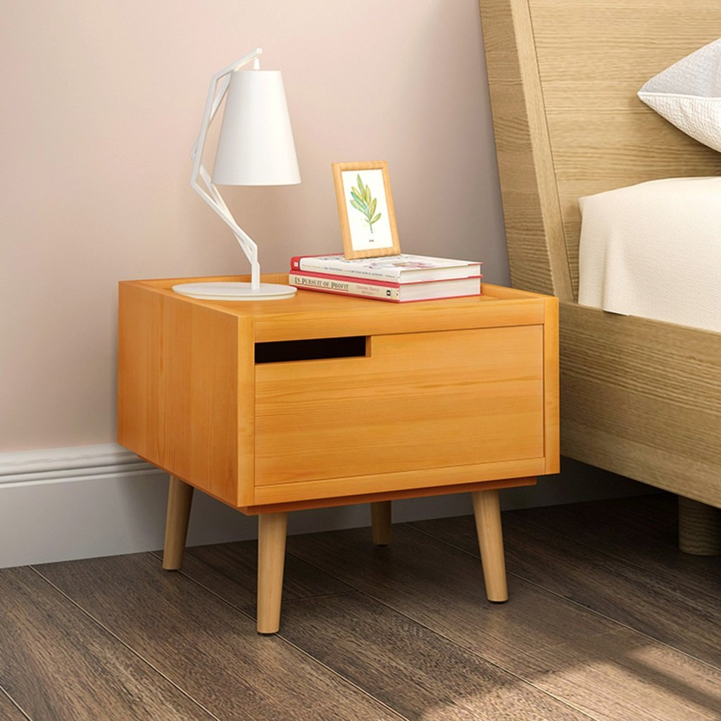 1 404035.5cm GJM Shop Pine Wood Bedside Cabinet with Drawers Document Storage Cabinet Lockers (color   1, Size   40  40  35.5cm)