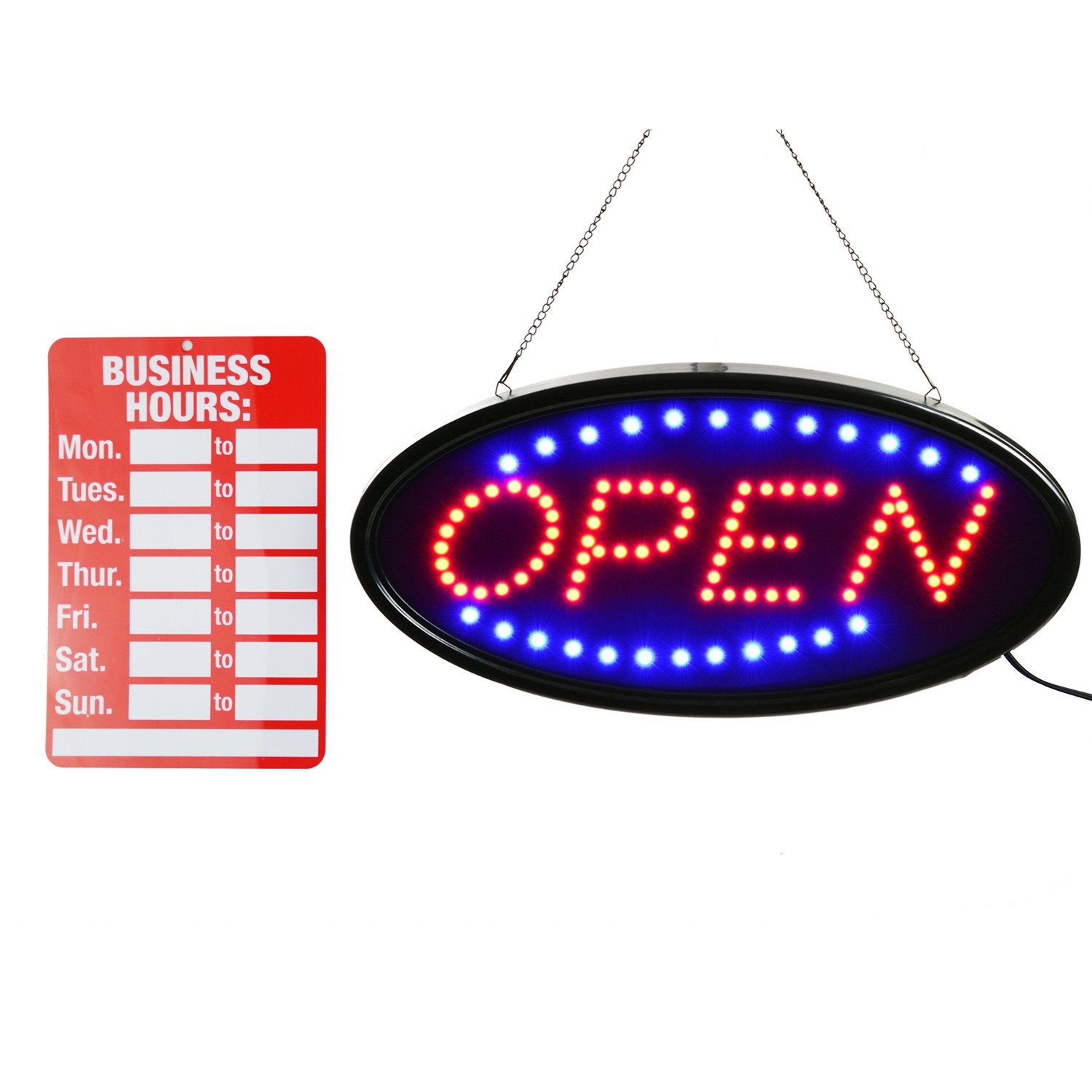 Open LED Sign,LED business open sign advertisement board Electric Display Sign,Light Up Sign 18.9''x9.84'' Flashing & Steady light, for business, walls, window, shop, bar, hotel (Blue+Red)