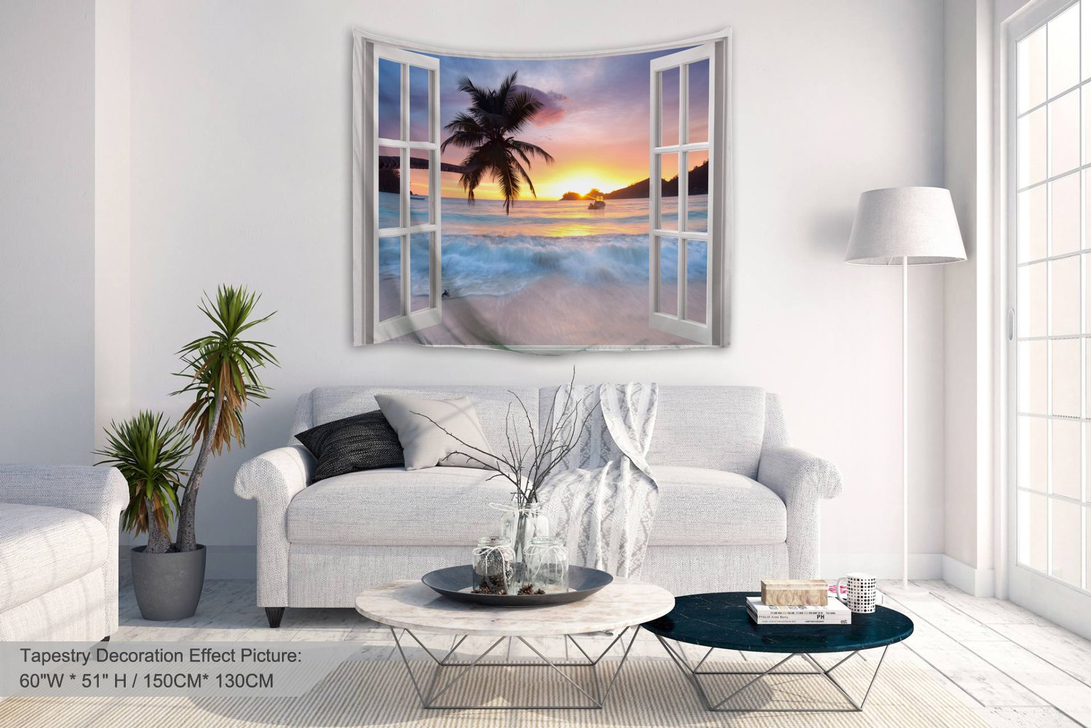 Alfalfa Wall Hanging Decor Nature Art Polyester Fabric Tapestry, Ocean Beach Theme, For Dorm Room, Bedroom,Living Room - 60'' W x 51'' L (150cmx130cm) - Seaside Sunrise Out Of The Window