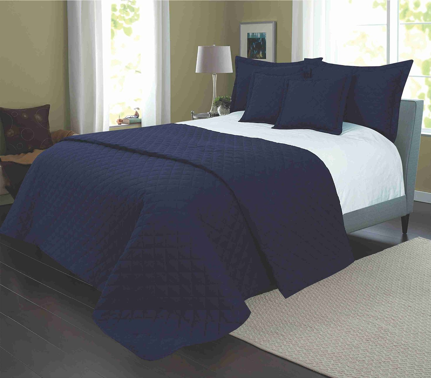 QUILTED EGYPTIAN COTTON BEDSPREAD BED THROW WITH 2 PILLOWSHAMS AND 2  CUSHIONS, FITS DOUBLE AND KING SIZE BED   NAVY BLUE: Amazon.co.uk: Kitchen  U0026 Home