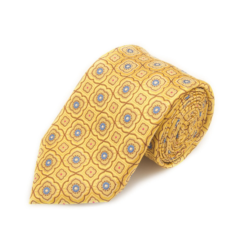 Santorelli Gold And Blue Fancy Woven Silk Tie