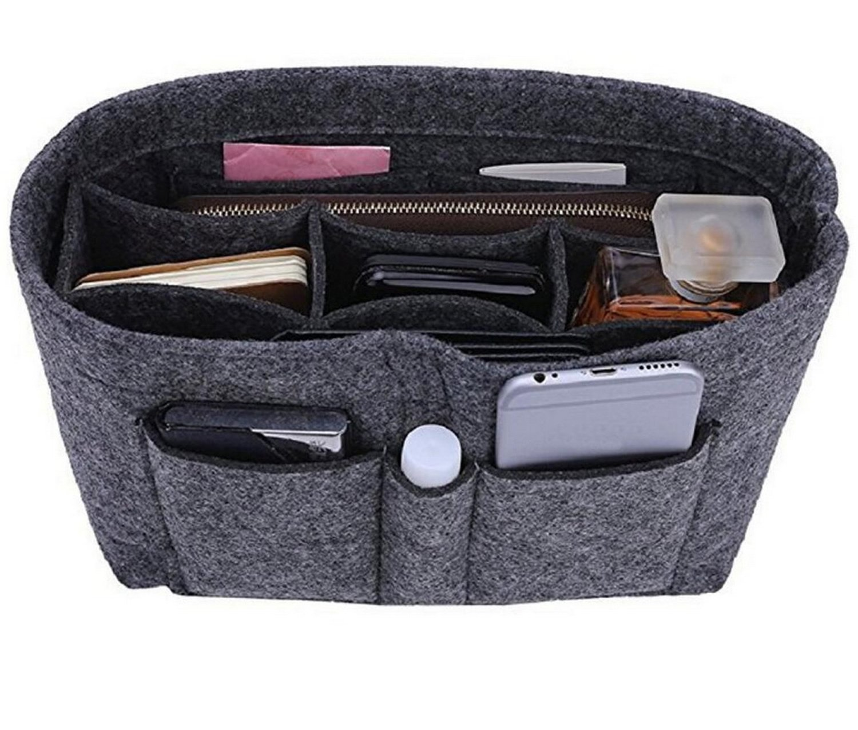 Foucome Felt Insert Purse Organizer Handbag Cosmetic Multi-Pocket Insert Bag for Women Gray Large