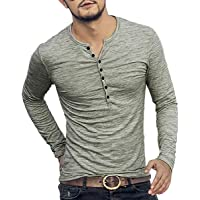 7bf8e6b8 WULFUL Men's Casual Slim Fit Henley Shirt Lightweight Long Sleeve Basic  Summer T-Shirt