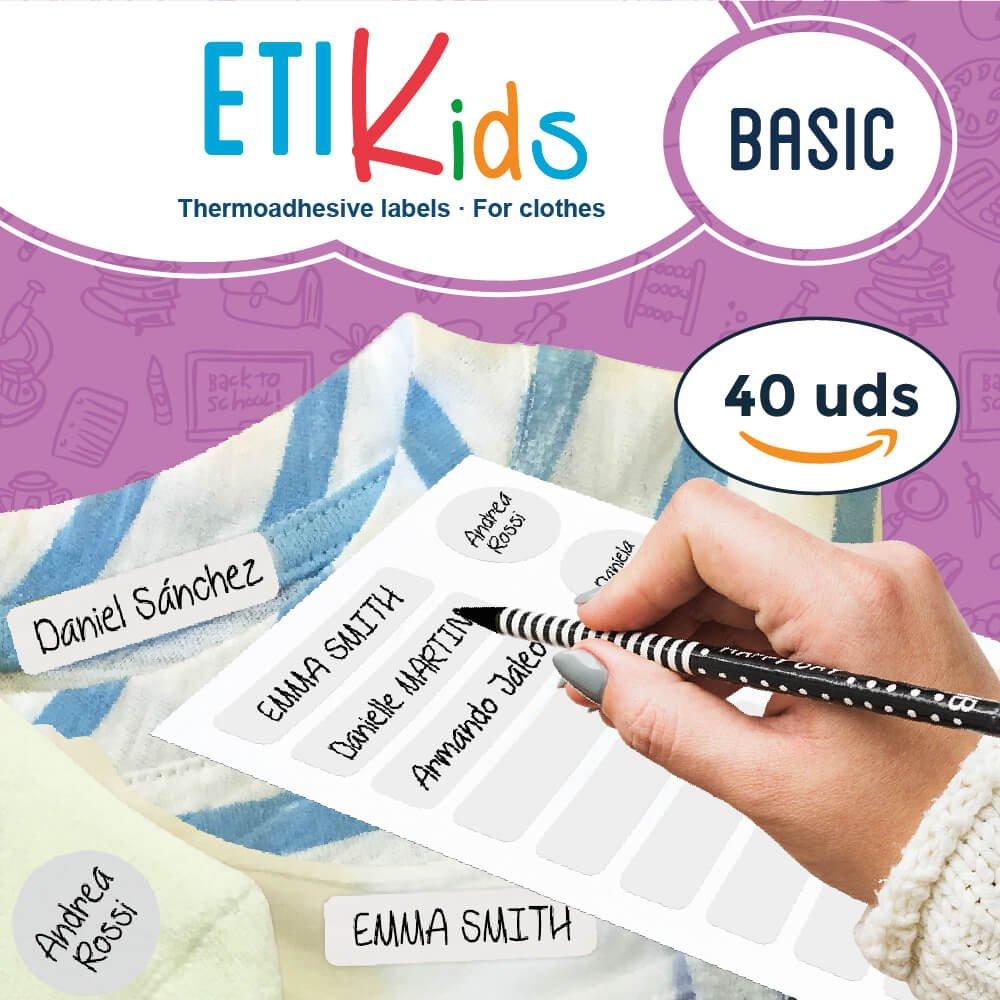 ETIKIDS , 40 Etichette termoadesive bianche, da STIRARE , in 4 formati diversi per contrassegnare indumenti, vestiti dei bambini a scuola ed asilo. (BASIC) Haberdashery Online