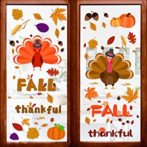 150 pcs Thanksgiving Decorations Window Clings Decor- 8 Sheet Extra Large Turkey Pumpkin Fall Leaves Decal- Autumn Fall Decals Party Decor- for Kids/ School/ Home/ Office/ Party Supplies