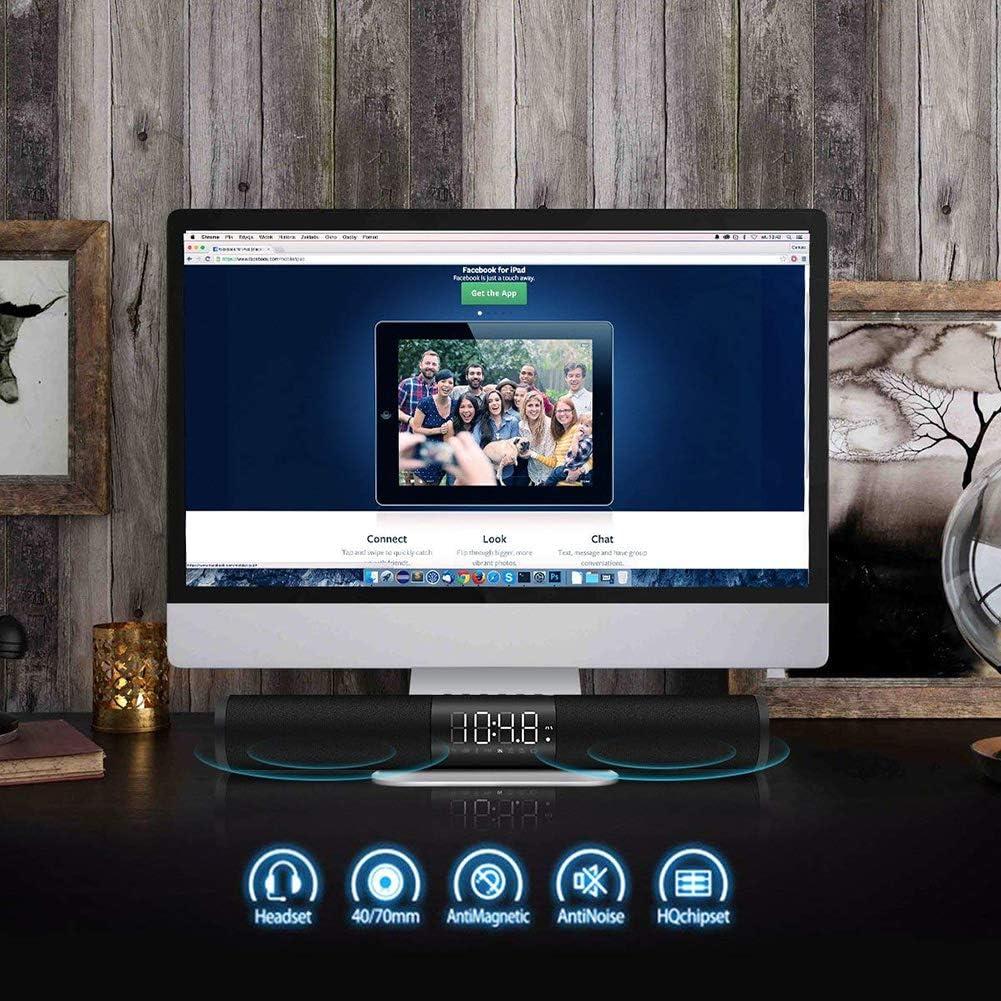 Speaker-EJOYDUTY con conexión de Cable del Altavoz Bluetooth/Wireless, 20W de Cine en casa Bass Estéreo Barra de Sonido, con LED de Alarma del Reloj, Apto para TV, PC, iPad, iPhone, Android: Amazon.es: