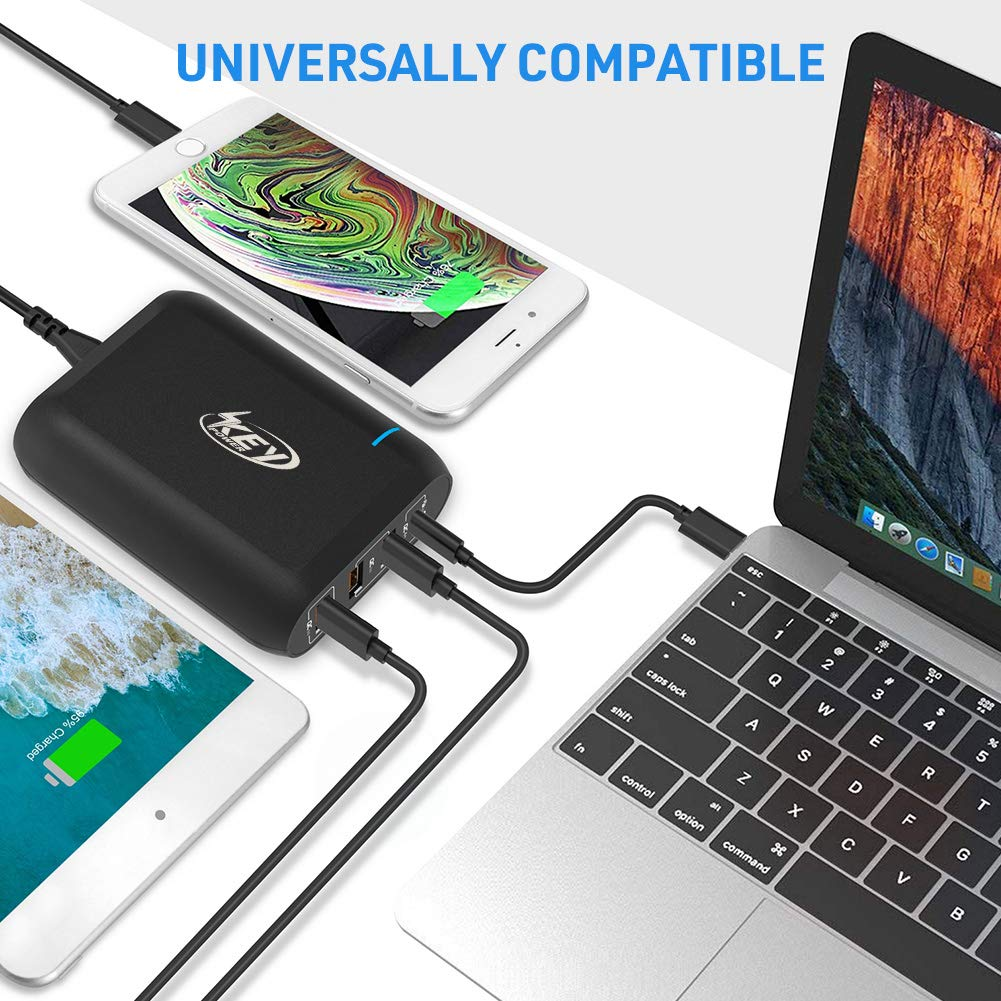 Key Power USB C Wall Charger, 66W Desktop Charging Station with One Type C Power Delivery Port for MacBook, HP Spectre,Dell XPS and 3-Port Quick Charge 3.0 Fast Charger for iPhone, Galaxy and More