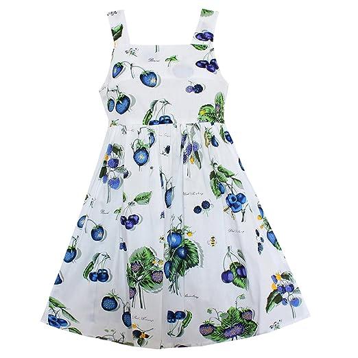 2bac476bab21 Amazon.com: Shybobbi Fashion Girls Dress Blue Blueberry Fruit Print Cotton Dresses  Summer Party Princess Holiday Kids Clothing: Clothing