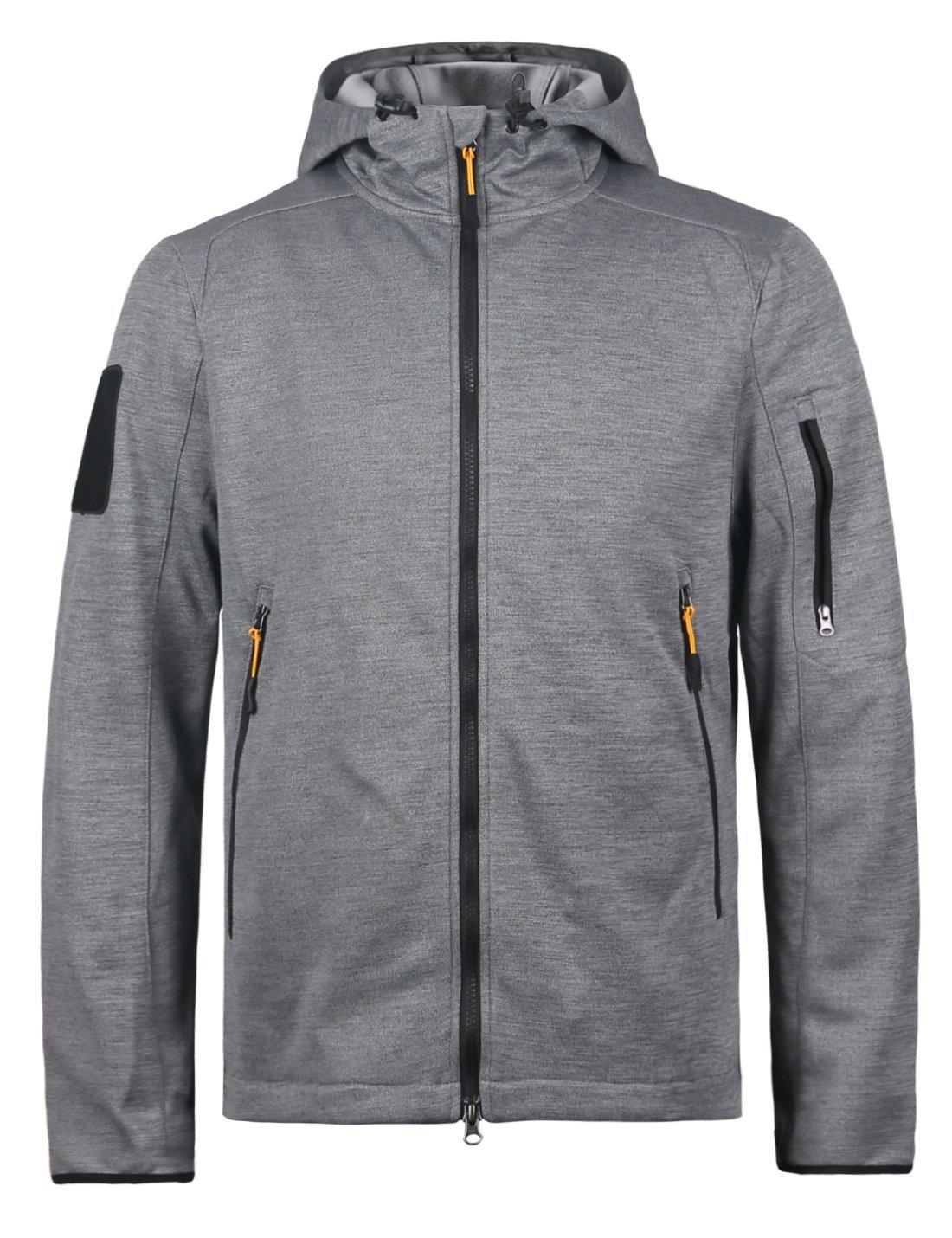 HARD LAND Men's Full Zip Up Hoodie Water Resistant Fleece Jacket Midweight Tactical Hooded Sweatshirt Grey Size XXXL