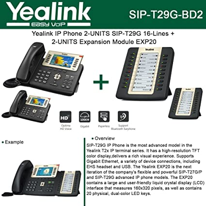 Amazon com : Yealink SIP-T29G IP Phone PoE 2-UNITS + EXP20 2