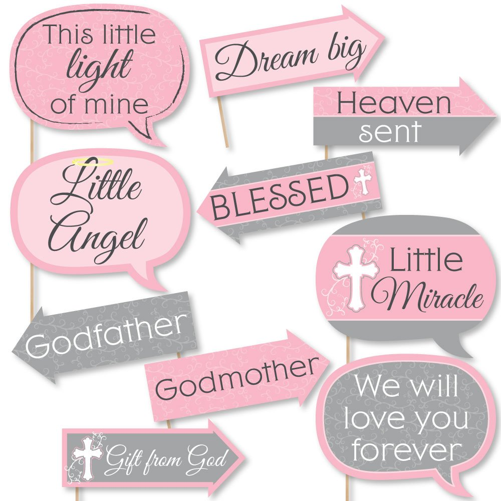 Funny Little Miracle Girl Pink & Gray Cross - Baptism or Baby Shower Photo Booth Props Kit - 10 Piece by Big Dot of Happiness