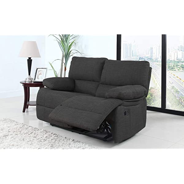 Divano Roma Furniture Classic and Traditional Dark Grey Fabric Oversize Recliner Loveseat (2 Seater)