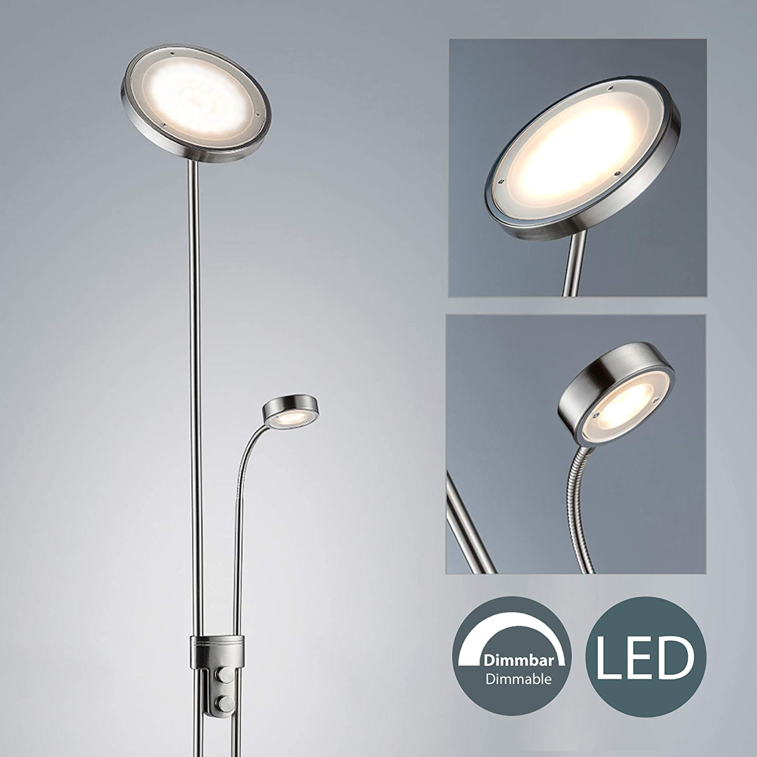 Led Stehleuchte Dimmbar I Deckenfluter Mit Leselampe I Stehlampe