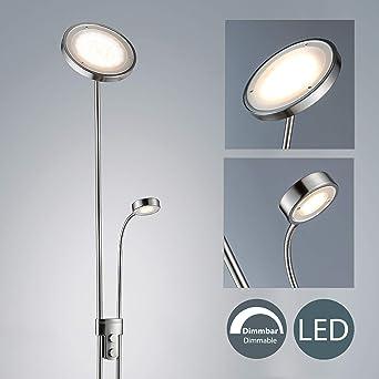 Zeitloser LED Deckenfluter mit flexiblem Leselicht Metall Nickel matt DIMMBAR